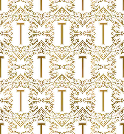 Golden initial seamless pattern with T letter. Heraldic vintage decorative wallpaper, fabric print or wrapping.