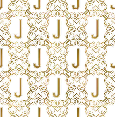 Golden initial seamless pattern with J letter. Heraldic vintage decorative wallpaper, fabric print or wrapping.