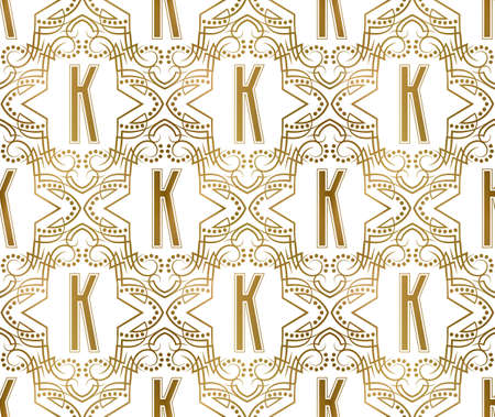 Golden initial seamless pattern with K letter. Heraldic vintage decorative wallpaper, fabric print or wrapping.
