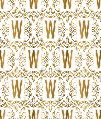 Golden initial seamless pattern with W letter. Heraldic vintage decorative wallpaper, fabric print or wrapping.