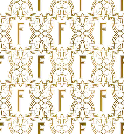 Golden initial seamless pattern with F letter. Heraldic vintage decorative wallpaper, fabric print or wrapping.