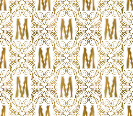 Golden initial seamless pattern with M letter. Heraldic vintage decorative wallpaper, fabric print or wrapping. 矢量图像