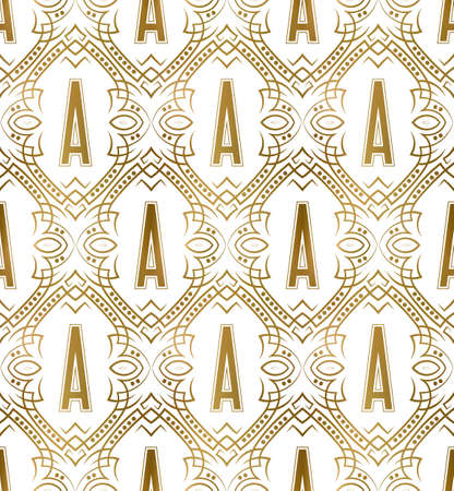 Golden initial seamless pattern with A letter. Heraldic vintage decorative wallpaper, fabric print or wrapping.