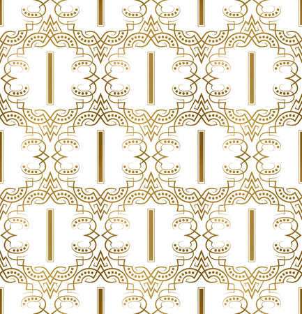 Golden initial seamless pattern with I letter. Heraldic vintage decorative wallpaper, fabric print or wrapping.