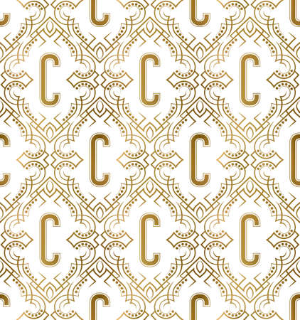 Golden initial seamless pattern with C letter. Heraldic vintage decorative wallpaper, fabric print or wrapping. 矢量图像