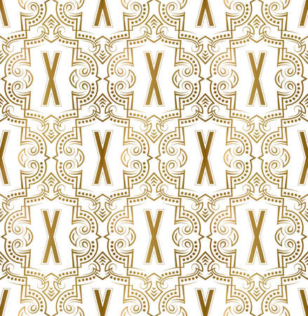 Golden initial seamless pattern with X letter. Heraldic vintage decorative wallpaper, fabric print or wrapping. 矢量图像