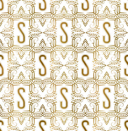 Golden initial seamless pattern with S letter. Heraldic vintage decorative wallpaper, fabric print or wrapping.