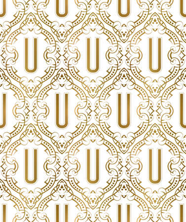 Golden initial seamless pattern with U letter. Heraldic vintage decorative wallpaper, fabric print or wrapping. 矢量图像