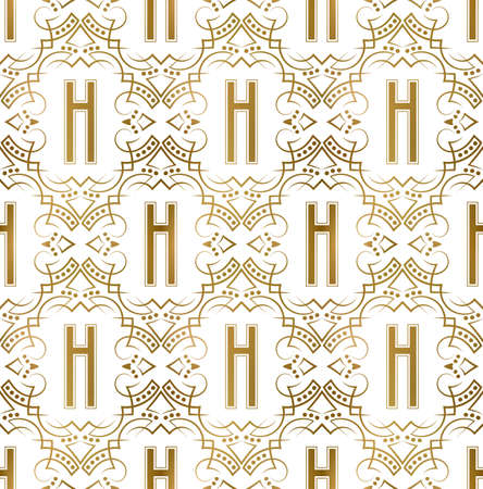 Golden initial seamless pattern with H letter. Heraldic vintage decorative wallpaper, fabric print or wrapping.