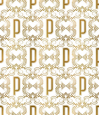 Golden initial seamless pattern with P letter. Heraldic vintage decorative wallpaper, fabric print or wrapping.