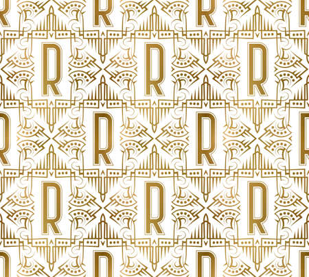 Golden initial seamless pattern with R letter. Heraldic vintage decorative wallpaper, fabric print or wrapping.