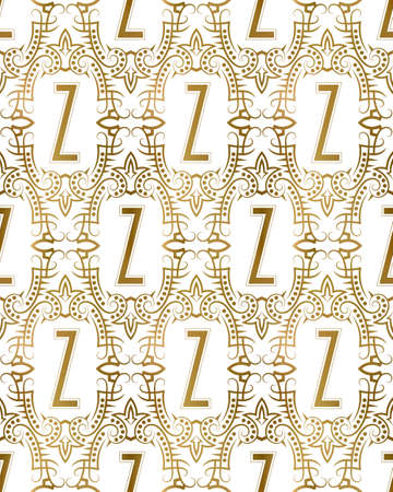 Golden initial seamless pattern with Z letter. Heraldic vintage decorative wallpaper, fabric print or wrapping. 矢量图像