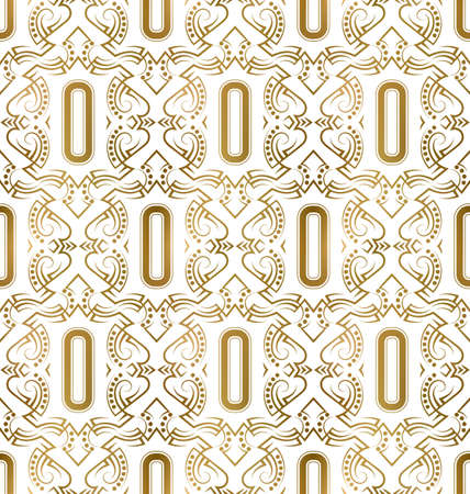 Golden initial seamless pattern with O letter. Heraldic vintage decorative wallpaper, fabric print or wrapping.
