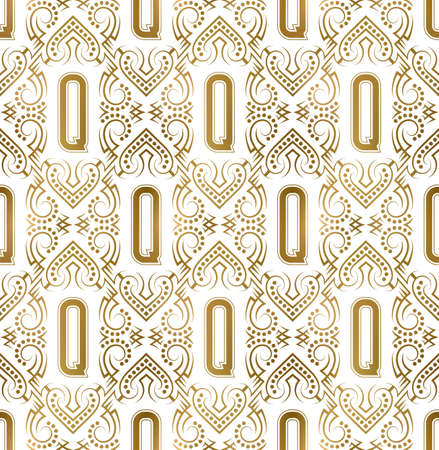 Golden initial seamless pattern with Q letter. Heraldic vintage decorative wallpaper, fabric print or wrapping.