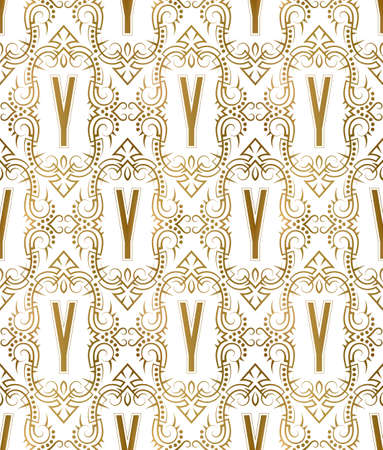 Golden initial seamless pattern with Y letter. Heraldic vintage decorative wallpaper, fabric print or wrapping. 矢量图像