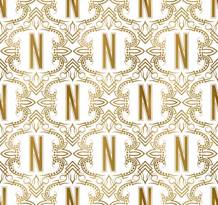 Golden initial seamless pattern with N letter. Heraldic vintage decorative wallpaper, fabric print or wrapping. 矢量图像