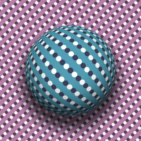 Trippy sphere on surface of polka dot pattern. Vector dizzy moving optical illusion. Vector Illustratie