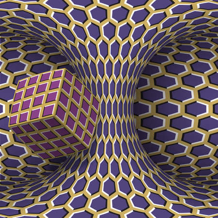 Moving torus of purple beige hexagonal pattern with rotating square cube. Vector hypnotic optical illusion illustration.