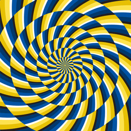 Optical motion illusion vector background. Yellow blue spiral striped pattern move around the center.