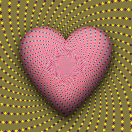 Heart beating optical illusion. Vector trippy moving abstraction.
