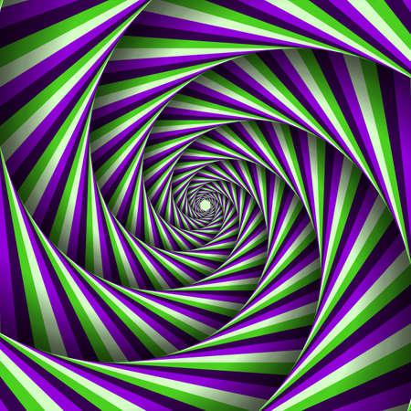 Six-sleeved unwinding spiral of color stripes. Moving optical illusion vector abstraction.