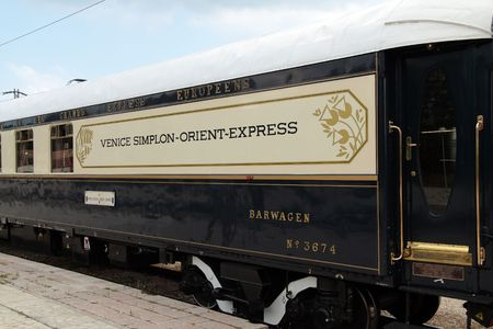 VARNA, BULGARIA - AUGUST 31, 2010: The legendary Orient Express arrives at Varna train station. The luxury train travels  between Paris and Istanbul.