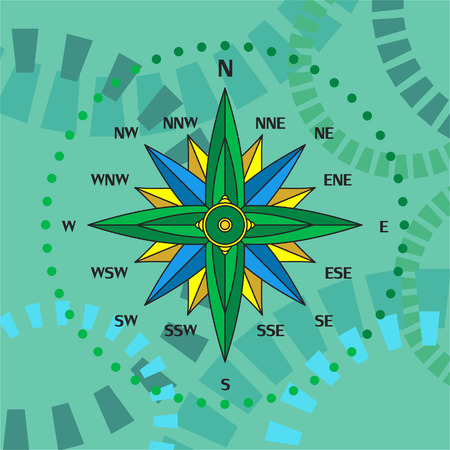 north arrow: Illustration of a compass panel on abstract background