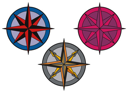 star trail: Compass panel on white background Illustration