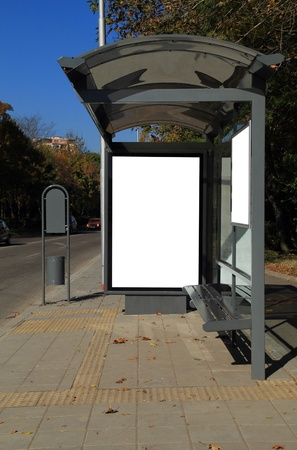 Black banner. This is for advertisers to place ad copy samples on a bus shelter. Stock Photo - 8286605