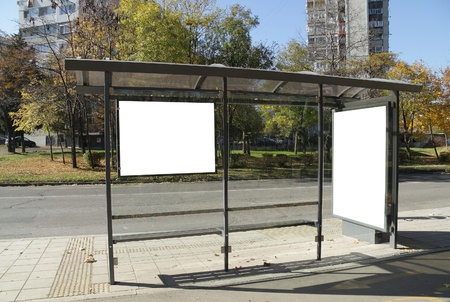 Black banner. This is for advertisers to place ad copy samples on a bus shelter. Stock Photo - 8286606