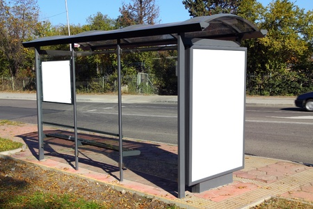 Black banner. This is for advertisers to place ad copy samples on a bus shelter. Stock Photo - 8286612