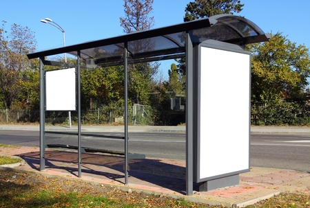 billboard posting: Black banner. This is for advertisers to place ad copy samples on a bus shelter.
