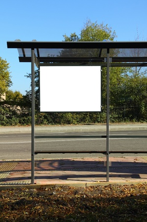 Black banner. This is for advertisers to place ad copy samples on a bus shelter. photo