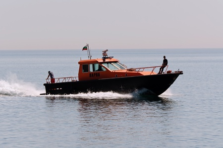 submerging: VARNA, BULGARIA - MAY 25: Bulgarian maritime administration vessel sails back to her base on May 25, 2011 in Varna, Bulgaria. Her mission was to secure the submerging of the TU-154 aircraft.