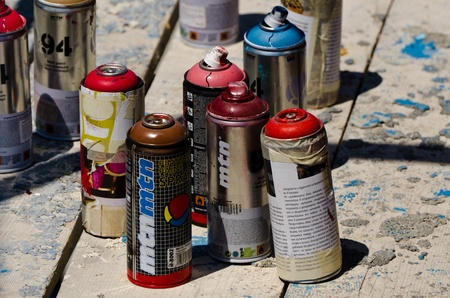 VARNA, BULGARIA - JUNE 2: Color spray cans used by graffiti artists at the Creatures from Black Sea Sprite Graffiti Jam in Port of Varna, on June 2, 2011 in Varna, Bulgaria.