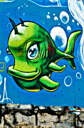 VARNA, BULGARIA - JUNE 5: Part of the eighty meters long graffiti painted on the breackwater wall at Port of Varna as part of the