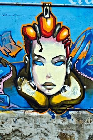 """sprite: VARNA, BULGARIA - 05 de junio: Una parte de los graffiti ochenta metros de largo pintada en la pared breackwater en el puerto de Varna, como parte de las """"Criaturas del Mar Negro"""" Sprite Graffiti Jam 2011 el 5 de junio de 2011 en Varna, Bulgaria. Editorial"""