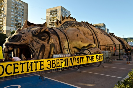inwards: VARNA, BULGARIA - AUGUST 28: Vast Hollywood made inflatable beast is open for visitors wanting to explore its entrails and hear its heartbeat on August 28, 2011 in Varna, Bulgaria.