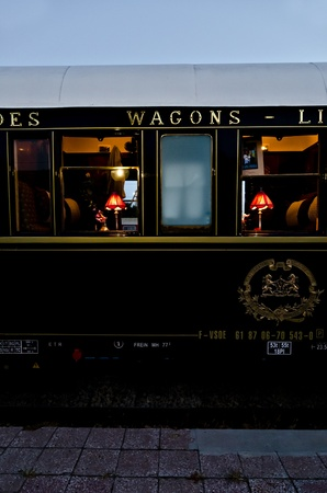 depart: VARNA, BULGARIA - SEPTEMBER 6: The legendary Orient Express is ready to depart from Varna Railway Station on September 6, 2011 in Varna, Bulgaria. The luxury train travels between Paris and Istanbul