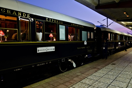 VARNA, BULGARIA - SEPTEMBER 6: The legendary Orient Express is ready to depart from Varna Railway Station on September 6, 2011 in Varna, Bulgaria. The luxury train travels between Paris and Istanbul