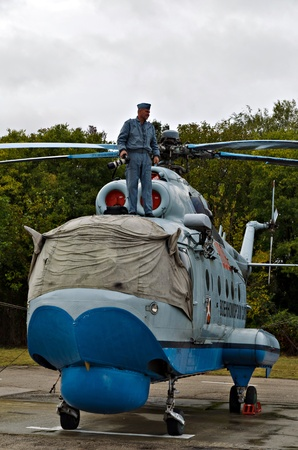 VARNA, BULGARIA - OCTOBER 9: Old submarine-locating and combat helicopter Mi-14 PL waiting to be replaced by the new Panther helicopters delivered by Eurocopter on October 9, 2011 in Varna, Bulgaria.
