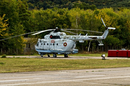 pl: VARNA, BULGARIA - OCTOBER 9: Old submarine-locating and combat helicopter Mi-14 PL waiting to be replaced by the new Panther helicopters delivered by Eurocopter on October 9, 2011 in Varna, Bulgaria.