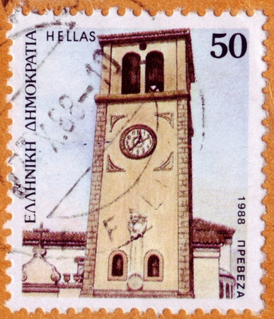 GREECE - CIRCA 1988: A 50d stamp from Greece shows image of the Preveza clock tower, Isle of Preveza, Greece, circa 1988.