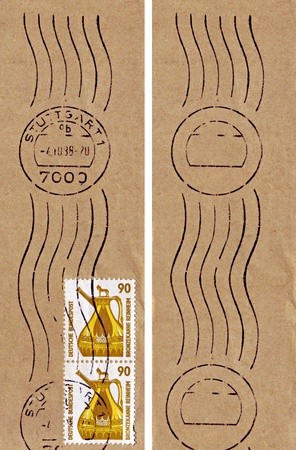 burette: GERMANY - CIRCA 1987: Two identical stamps printed in Germany, show bronze jug from Reinheim, circa 1987.