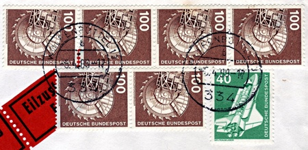 bituminous coal: FEDERAL REPUBLIC OF GERMANY - CIRCA 1975: Stamps printed in Federal Republic of Germany, show a space shuttle and Rotary Bituminous coal excavator, circa 1975 Editorial