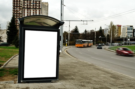 advertising board: This is for advertisers to place ad copy samples on a bus shelter. Stock Photo