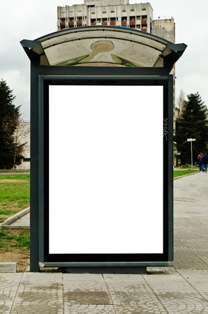 advertisers: This is for advertisers to place ad copy samples on a bus shelter. Stock Photo