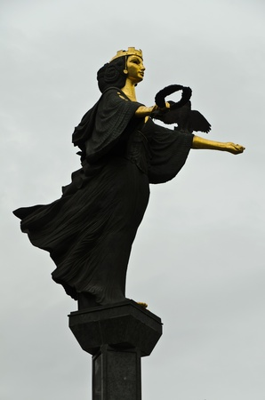 The Famous Golden Statue of St. Sofia in Sofia. The statue represents Saint Sofia, the goddess protector of the city.