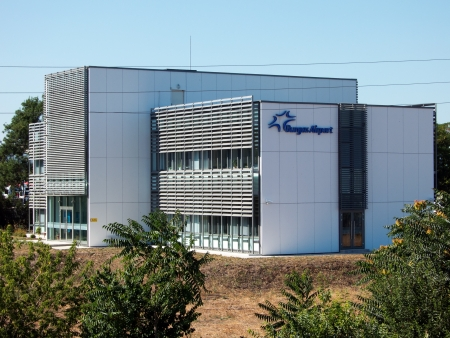 border patrol: BURGAS, BULGARIA - JULY 21: Building bearing the logo of Sarafovo Airport  on July 21, 2012. Deadly attack against Israeli tourists occurred on the grounds of the Sarafovo Airport.