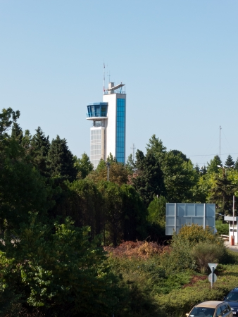 border patrol: BURGAS, BULGARIA - JULY 21: The Sarafovo Airport tower seen from a distance on July 21, 2012. Deadly attack against Israeli tourists occurred on the grounds of the Sarafovo Airport.